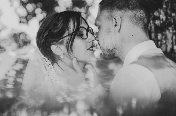 Shooting couple mariés, reflet prisme